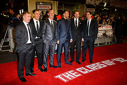 Paul Scholes, Phil Neville, Nicky Butt, Ryan Giggs, David Beckham and Gary Neville attend The World Premiere of 'The Class of 92'. Odeon West End, London, United Kingdom. Sunday, 1st December 2013. Picture by Chris Joseph / i-Images