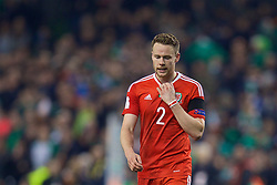 DUBLIN, REPUBLIC OF IRELAND - Friday, March 24, 2017: Wales' Chris Gunter looks dejected after the goal-less draw with Republic of Ireland during the 2018 FIFA World Cup Qualifying Group D match at the Aviva Stadium. (Pic by David Rawcliffe/Propaganda)