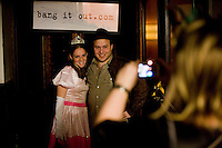March 22nd 2008. Havana Central, New York, NY. Jewish Costume Purim Party at Havana Central at the West End, 2991 Broadway (113th street). Seth Galena and his wife Hindy Poupko, who live in the upper west side, photographed by Seth's mother, Rita. Party organized by twin brothers Seth and Isaac Galena, from bangitout.com, a jewish humour website.<br /> <br /> Reporter: Bleyer,Jennifer: 917-279-2078<br /> email: bleyer@nytimes.com<br /> ©2008 Gianni Cipriano<br /> cell. +1 646 465 2168 (USA)<br /> cell. +1 328 567 7923 (Italy)<br /> gianni@giannicipriano.com<br /> www.giannicipriano.com