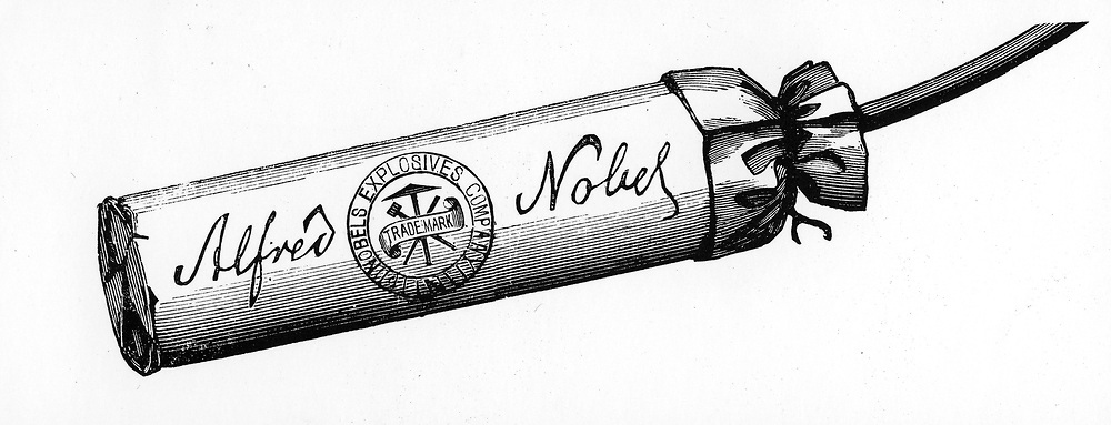 Nobel Explosives Company Limited, Ardeer, Ayrshire. Cartridge packed with Dynamite made at the factory.  From 'The Illustrated London News', 16 April 1884