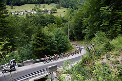 The lead group on the final climb during Stage 9 of 2019 Giro Rosa Iccrea, a 125.5 km road race from Gemona to Chiusaforte, Italy on July 13, 2019. Photo by Sean Robinson/velofocus.com