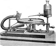 Hand-powered Berliner Gramophone (1887). Engraving