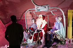 © Licensed to London News Pictures. 20/10/2016. SELFRIDGES department store is the first retailer in the world to unveil its Christmas windows with a theme of Santa Claus partying and having fun in a variety of settings. London, UK. Photo credit: Ray Tang/LNP
