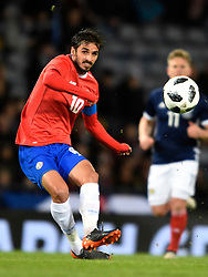 Costa Rica's Bryan Ruiz in action during the international friendly match at Hampden Park, Glasgow. RESTRICTIONS: Use subject to restrictions. Editorial use only. Commercial use only with prior written consent of the Scottish FA.