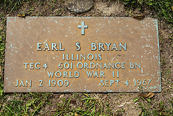 31 August 2017:   Veterans graves in Park Hill Cemetery in eastern McLean County.<br /> <br /> Earl S Bryan  Illinois TEC4 601 Ordnance BN World War II Jan 2 1909 Sept 1967