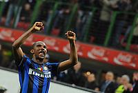"""Esultanza di Samuel Eto' dell'Inter<br /> Milano 24/3/2010 Stadio """"Giuseppe Meazza""""<br /> Inter Livorno<br /> Campionato di calcio di serie A 2009/2010<br /> Foto Bibi Insidefoto"""