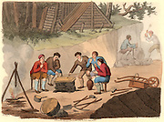 The Quarryman of Grisante'.  The stone quarry workers (miners) are enjoying a meal of polenta and wine.  The polenta has been cooked in a pot of water over the fire at the left.  In the background men break down the blocks of stone.  Polenta flour can be made from wheat, chestnuts or maize.  Hand coloured lithograph from 'Italian Scenery, Manners and Customs' by Buon Airetti (London, 1806). I minatori si godono un pasto di polenta e vino. Litografia dipinta a mano da 'Scenari italiani, maniere e costumi'.