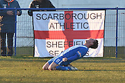 Glossop North End  Ben Richardson (11) scoresd 1-0  during the Evo-Stik Premier League match between Glossop North End and Scarborough Athletic at the Arthur Goldthorpe Stadium, Glossop, United Kingdom on 26 November 2016. Photo by Mark Pollitt.