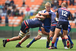 Cape Town-180427 Rebels Billy Meakes and Adam Coleman tackles Stomers Pieter Steph du Toit when the two teams played the super 15 match at newlands Stadium .photograph:Phando Jikelo/African News Agency/ANA