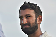 Chetashwar Pujara after the Specsavers County Champ Div 2 match between Sussex County Cricket Club and Nottinghamshire County Cricket Club at the 1st Central County Ground, Hove, United Kingdom on 28 September 2017. Photo by Simon Trafford.
