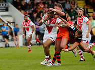 Ben Barba of St Helens on the attack against  Castleford Tigers during the Ladbrokes Challenge Cup match at the Mend-A-Hose Jungle, Castleford<br /> Picture by Stephen Gaunt/Focus Images Ltd +447904 833202<br /> 12/05/2018