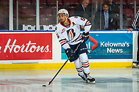 KELOWNA, BC - OCTOBER 12: Montana Onyebuchi #5 of the Kamloops Blazers warms up on the ice with the puck against the Kelowna Rockets at Prospera Place on October 12, 2019 in Kelowna, Canada. (Photo by Marissa Baecker/Shoot the Breeze)