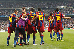 27-04-2011 VOETBAL: SEMI FINAL CL REAL MADRID - FC BARCELONA: MADRID<br /> Lionel Messi, celebration goal during Champions League semifinal first match with assist from Afellay<br /> *** NETHERLANDS ONLY***<br /> ©2011-FH.nl-EXPA/ Alterphotos/ ALFAQUI / Alex Cid-Fuentes