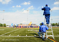 Lincoln University's marching band performs at half time as their football team loses against the Fayetteville state Broncos at Avon Grove high school in Chester county. Lincoln University, recently brought back their football program.