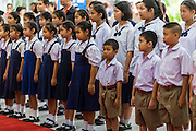 09 OCTOBER 2014 - BANGKOK, THAILAND: School children line up to offer get well wishes to Bhumibol Adulyadej, the King of Thailand. The King has been hospitalized at Siriraj Hospital since Oct. 4 and underwent emergency gall bladder removal surgery Oct. 5. The King is also known as Rama IX, because he is the ninth monarch of the Chakri Dynasty. He has reigned since June 9, 1946 and is the world's longest-serving current head of state and the longest-reigning monarch in Thai history, serving for more than 68 years. He is revered by the Thai people and anytime he goes into the hospital thousands of people come to the hospital to sign get well cards.   PHOTO BY JACK KURTZ