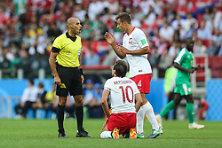 June 19, 2018 - Moscow, Russia - official Nawaf Shukralla,Grzegorz Krychowiak (POL),Thiago Cionek (POL) during the 2018 FIFA World Cup Russia group H match between Poland and Senegal at Spartak Stadium on June 19, 2018 in Moscow, Russia. (Credit Image: © Foto Olimpik/NurPhoto via ZUMA Press)