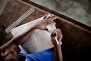 Taking notes during biology class at an all-girls school run by FAWE in Obodan, Ghana.