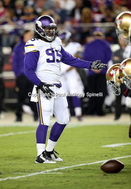 Minnesota Vikings defensive end Scott Crichton (95) points during the 2015 NFL week 1 regular season football game against the San Francisco 49ers on Monday, Sept. 14, 2015 in Santa Clara, Calif. The 49ers won the game 20-3. (©Paul Anthony Spinelli)