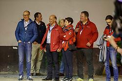 HILBERATH Jonny (Co Bundestrainer GER), KOENE Marc (Tierarzt GER), THEODORESU Monica (Bundestrainer Dressur GER)<br /> Paris - FEI World Cup Finals 2018<br /> FEI World Cup Grand Prix de Dressage<br /> www.sportfotos-lafrentz.de/Stefan Lafrentz<br /> 13. April 2018