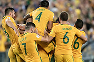 SYDNEY, NSW- NOVEMBER 15: Australian team celebrate the goal of  Mile Jedinak (15) at the Soccer World Cup Qualifier between Australia and Honduras on November 10, 2017. (Photo by Steven Markham/Icon Sportswire)