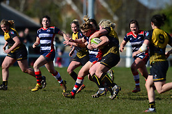 Sarah Graham of Bristol Ladies is tackled  - Mandatory by-line: Dougie Allward/JMP - 26/03/2017 - RUGBY - Cleve RFC - Bristol, England - Bristol Ladies v Wasps Ladies - RFU Women's Premiership