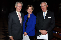 Left to right, ADRIAN BAILEY, MRS PETER WILMOT-SITWELL and RICHARD HAMBRO at a carol concert in aid of the Institute of Cancer Research at the Royal Hospital Chapel, Chelsea on 2nd December 2004.<br />