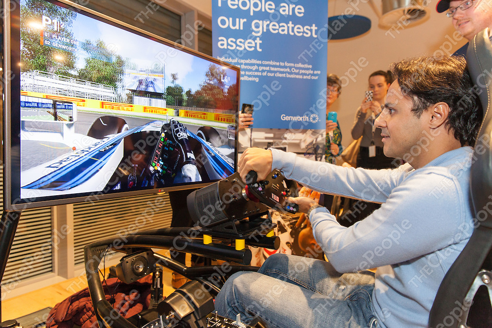 Felipe Massa shows of his skills on a Formula One Simulator at Genworth, Shannon