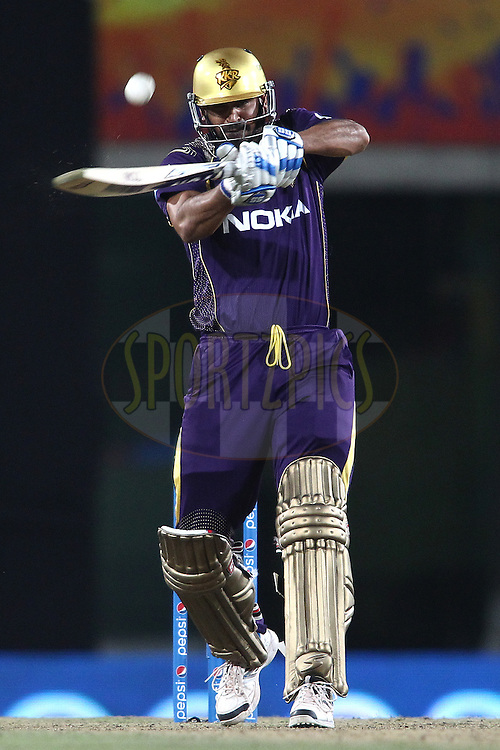 Yusuf Pathan of the Kolkata Knight Riders hits the ball into the gap during match 21 of the Pepsi Indian Premier League Season 2014 between the Chennai Superkings and the Kolkata Knight Riders  held at the JSCA International Cricket Stadium, Ranch, India on the 2nd May  2014<br /> <br /> Photo by Shaun Roy / IPL / SPORTZPICS<br /> <br /> <br /> <br /> Image use subject to terms and conditions which can be found here:  http://sportzpics.photoshelter.com/gallery/Pepsi-IPL-Image-terms-and-conditions/G00004VW1IVJ.gB0/C0000TScjhBM6ikg
