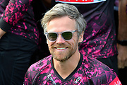 James Hildreth wearing sunglasses for one of the team shots in the Vitality Blast kit during the 2019 media day at Somerset County Cricket Club at the Cooper Associates County Ground, Taunton, United Kingdom on 2 April 2019.