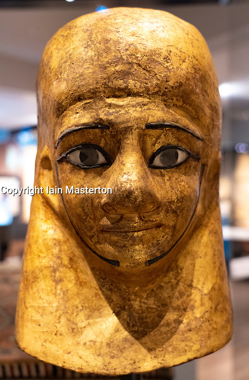 Mummy mask of Montsuef at the National Museum of Scotland in Edinburgh.