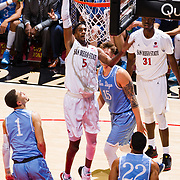05 December 2018: San Diego State Aztecs forward Jalen McDaniels (5) dunks the ball for an easy basket in the first half. The Aztecs lost to the Toreros 73-61 at Viejas Arena.