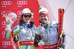 15.03.2017, Aspen, USA, FIS Weltcup Ski Alpin, Finale 2017, Abfahrt, Siegerehrung Abfahrtsweltcup Gesamtsieger 2017, im Bild v.l. Ilka Stuhec (SLO, 1. Platz und Abfahrts-Weltcupsiegerin) und Peter Fill (ITA, 2. Platz und Abfahrts-Weltcupsieger) mit ihren Kristrallkugeln für den Abfahrts Weltcupsieg // f.l. Winner of the Downhill Globe Ilka Stuhec of Slovenia and Winner of the Downhill Globe Peter Fill of Italy with their crystal gobes for the downhill World Cup during the winner award ceremony for the ladie's and the men's downhill overall winner at 2017 FIS ski alpine world cup finals. Aspen, United Staates on 2017/03/15. EXPA Pictures © 2017, PhotoCredit: EXPA/ Erich Spiess