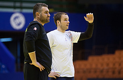Boris Denic, head coach of Slovenia and Uros Zorman of Slovenia during practice session of Slovenia National Handball team during Main Round of 10th EHF European Handball Championship Serbia 2012, on January 21, 2012 in Spens Sports Center, Novi Sad, Serbia. (Photo By Vid Ponikvar / Sportida.com)