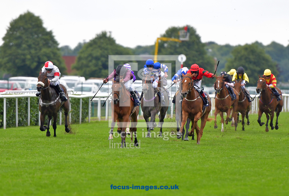 Zumran ridden by William Buick (black cap) wins British and Irish Lions Betting at 188bet Handicap Stakes Div 1 at the 188 Bet Summer Afternoon meeting at Doncaster Racecourse, Doncaster<br /> Picture by Martin Lynch/Focus Images Ltd 07501333150<br /> 30/06/2017