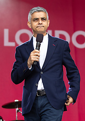 © Licensed to London News Pictures. 08/06/2019. London, UK. Mayor of London Sadiq Khan speaks at an event in Trafalgar Square to celebrate Eid ul-Fitr - the breaking of the fast. The festival marks the end of Ramadan, a holy month in the Muslim calendar when Muslims fast during the hours of daylight. This year, Eid occurred on Tuesday 4 June. Photo credit : Tom Nicholson/LNP