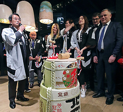 March 21, 2019 - Kyiv, Ukraine - Ambassador Extraordinary and Plenipotentiary of Japan to Ukraine Takashi Kurai (L) delivers a speech before the Kagami Biraki ceremony held during the celebration to mark the appointment as the head of the diplomatic mission, Kyiv, capital of Ukraine, March 21, 2019. Ukrinform. (Credit Image: © Pavlo_bagmut/Ukrinform via ZUMA Wire)