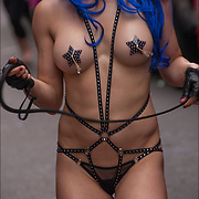 Amy Sales  semi-nude, topless in S&amp;M gear. Amy (lesbian dominatrix) with purple wig and whip  before the start of the Pride Parade in NYC. <br /> <br /> Amy stars and writes of &quot;My Normal&quot;, a film about a lesbian dominatrix, a mix of SM, drama and romantic comedy, My Normal provides an antidote to more 'normal' lesbian story lines.