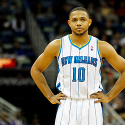 December 21, 2011; New Orleans, LA, USA; New Orleans Hornets shooting guard Eric Gordon (10) against the Memphis Grizzlies during the second quarter of a game at the New Orleans Arena.   Mandatory Credit: Derick E. Hingle-US PRESSWIRE