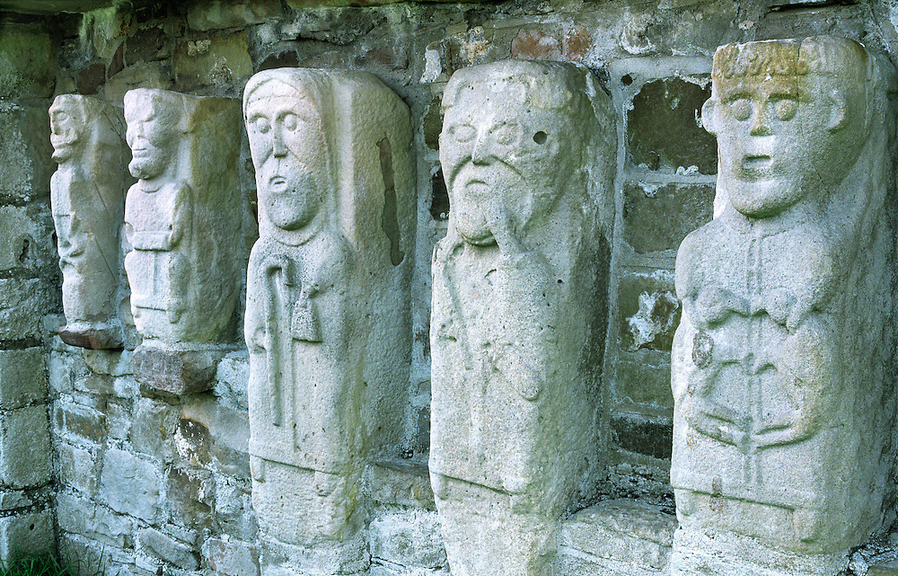 Celtic Christian monastic carvings of saints monks on White Island, Lower Lough Erne, near Enniskillen, Co. Fermanagh, Ireland.