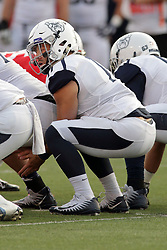 02 September 2017:  Sam Schrader gets low under center during the Butler Bulldogs at  Illinois State Redbirds Football game at Hancock Stadium in Normal IL (Photo by Alan Look)