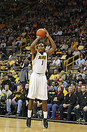 November 29, 2011: Iowa Hawkeyes forward Melsahn Basabe (1) puts up a shot during the first half of the NCAA basketball game between the Clemson Tigers and the Iowa Hawkeyes at Carver-Hawkeye Arena in Iowa City, Iowa on Tuesday, November 29, 2011. Clemson defeated Iowa 71-55 in the Big Ten-ACC Challenge game.