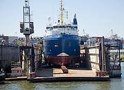 'Mare Verde' ship in dry dock, Port of Rotterdam, Netherlands