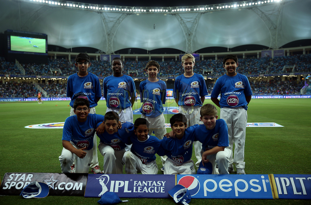 Icc academy ball boys during match 20 of the Pepsi Indian Premier League Season 2014 between the Mumbai Indians and the Sunrisers Hyderabad held at the Dubai International Stadium, Dubai, United Arab Emirates on the 30th April 2014<br /> <br /> Photo by Sandeep Shetty / IPL / SPORTZPICS