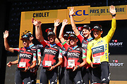 Podium BMC during the Tour de France 2018, Stage 3, Team Time Trial, Cholet-Cholet (35 km) on July 9th, 2018 - Photo Kei Tsuji/ BettiniPhoto / ProSportsImages / DPPI