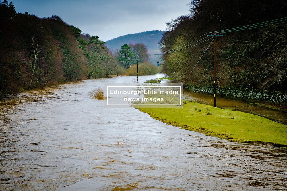 The River Tweed in flood in the Tweed valley between Broughton and Peebles in the Scottish Borders. The aftermath of Storm Doris.<br /> <br /> (c) Andrew Wilson | Edinburgh Elite media