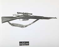 "Mannlicher-Carcane rifle, serial No. C2766 (""the C2766"" rifle).  The rifle used by Lee Harvery Oswald....Photograph: Warren Commission/ Dennis Brack Archives"