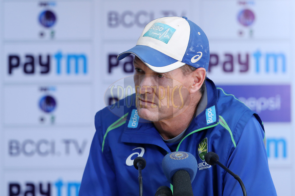 Australia bowling coach Graeme Hick addresses the media during day three of the fourth test match between India and Australia held at the Himachal Pradesh Cricket Association Stadium on the 27th March 2017.<br /> <br /> Photo by: Ron Gaunt/ BCCI/ SPORTZPICS