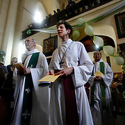 Presiding Bishop Katharine Jefferts Schori of the American Episcopal Church and the first woman elected primate in the Anglican Communion, walks with fellow primates into the Anglican cathedral to celebrate the Eucharist. Leaders of the world's 77 million Anglicans, in Tanzania for a closed, six-day conference, traveled by boat from the mainland to celebrate the Eucharist in the only Anglican cathedral on this predominantly Muslim archipelago on the Indian Ocean.....