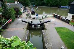 The bottom lock and lower basin at Foxton Locks on the Grand Union Canal, Market Harborough, Leicestershire, England, UK.