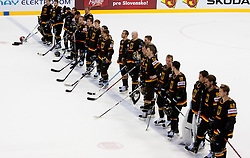 Players of Germany during ice-hockey match between Germany and Czech republic of Group E in Qualifying Round of IIHF 2011 World Championship Slovakia, on May 9, 2011 in Orange Arena, Bratislava, Slovakia. Czech republic defeated Germany 5-2. (Photo By Vid Ponikvar / Sportida.com)